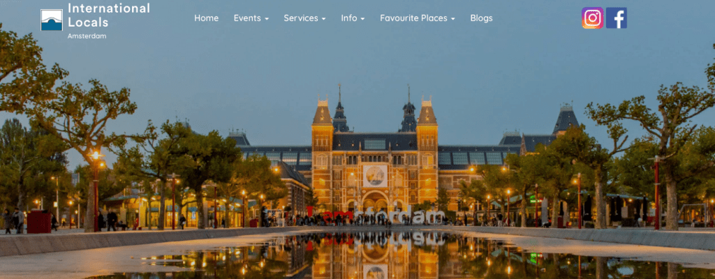 International Locals Home Page with Amsterdam Museumplein Image